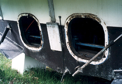 Dual Inboard/Outboard transom with engines removed