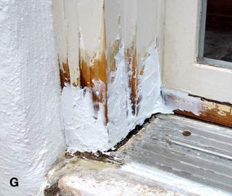 (G) Window sill with a gross fill of epoxy filler