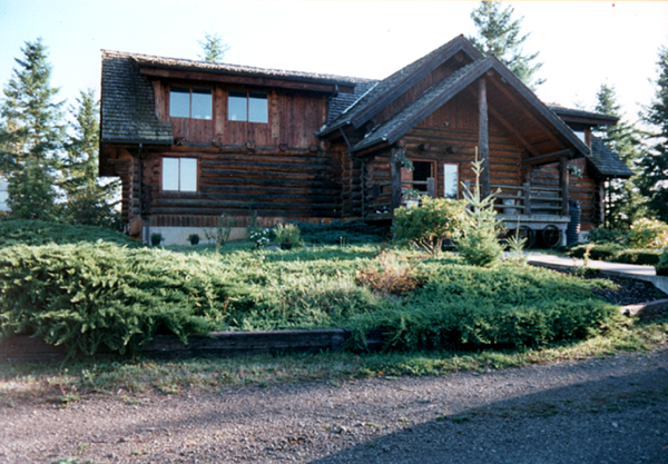 View of the front of the log home