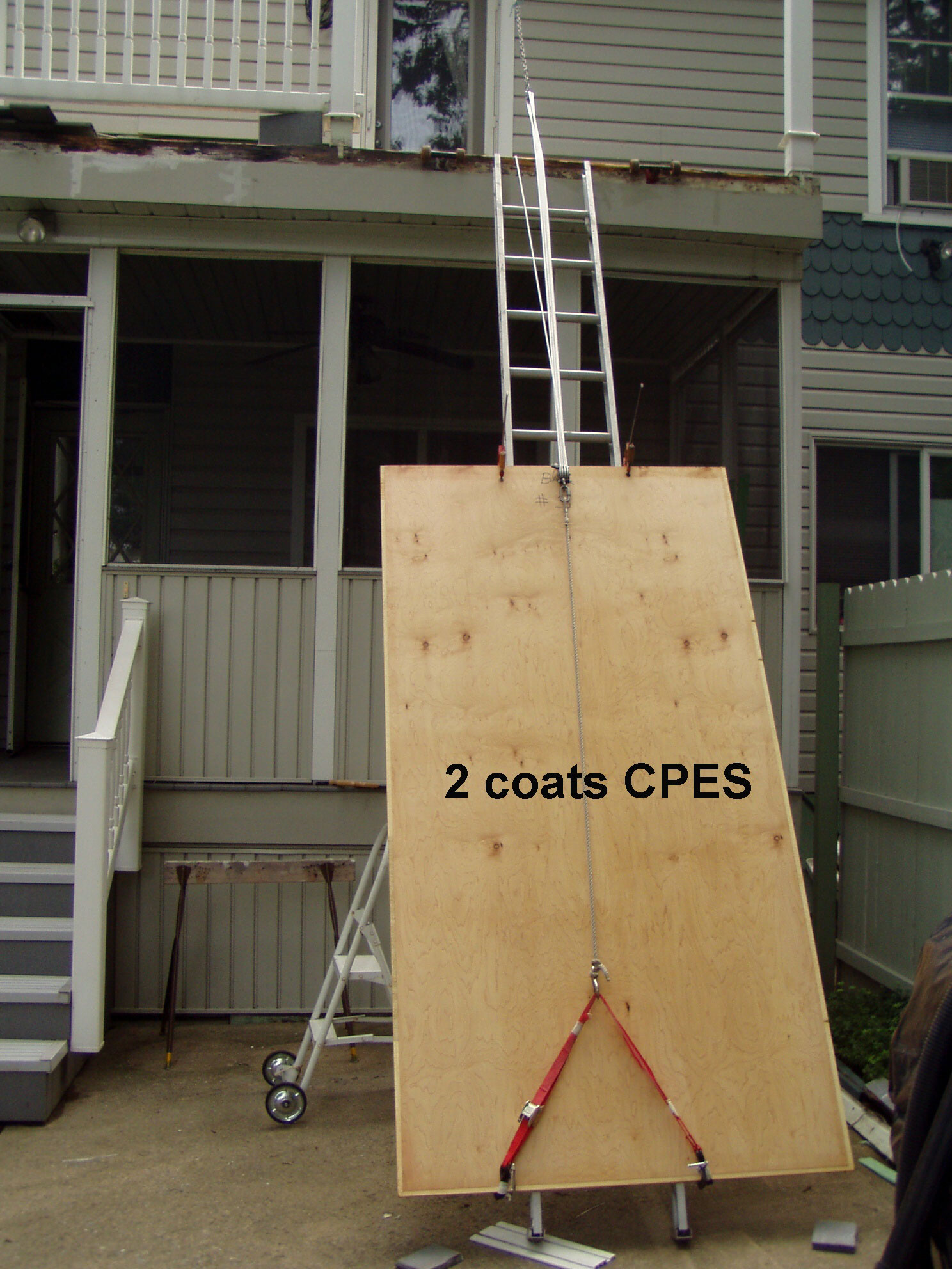 CPES treated wood on ladder