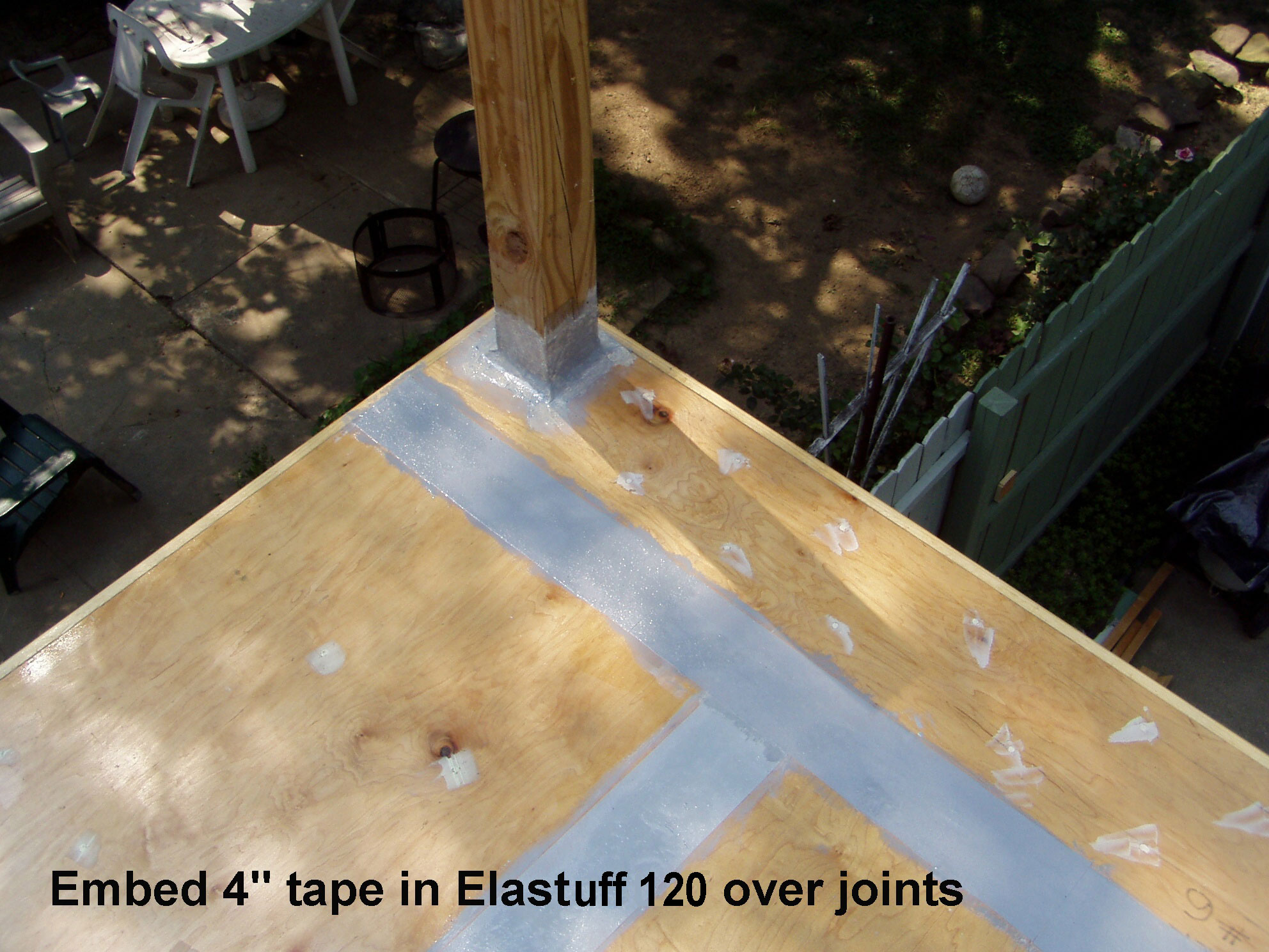 4 inch tape embeded in Elastuff 120 at joints