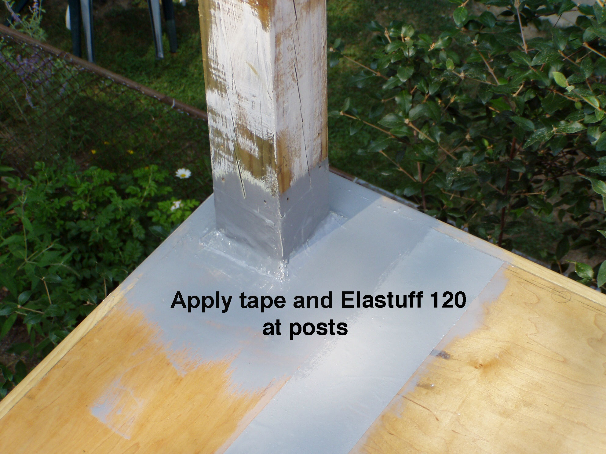 4 inch tape embeded in Elastuff 120 at posts