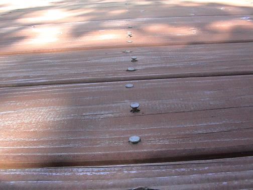 Deck showing raised nails, picture B